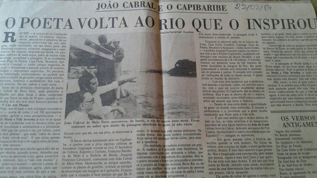 """Tive o privilégio de fazer parte de passeio ao lado de João Cabral, quando revisitou """"O Cão sem Plumas""""."""