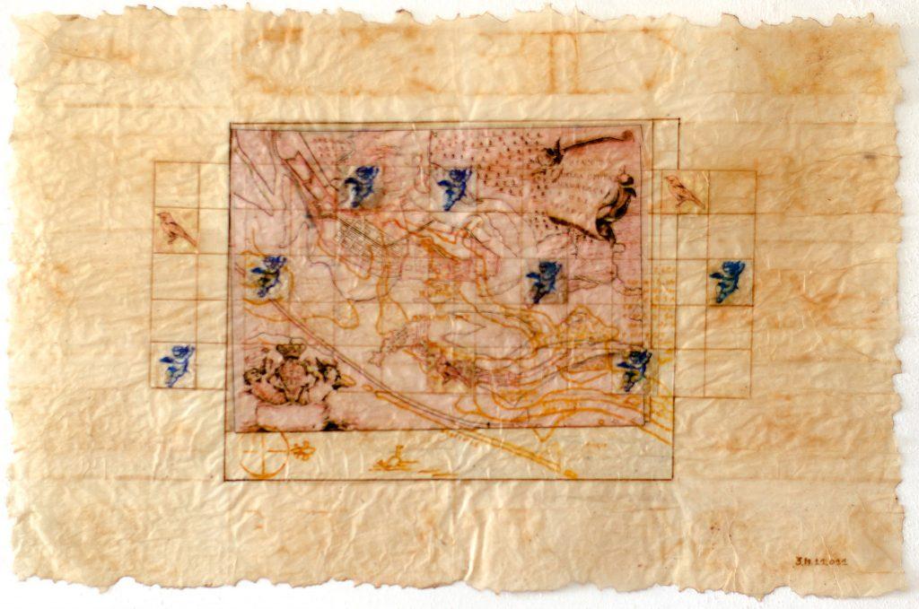 Mapa Citta Maurizia, um dos quadros de Cildo Oliveira em expô em São Paulo.